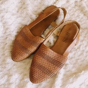 Vintage Woven Leather Slingback Mules